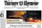 """Die Gesamtausgabe der """"Thüringer Allgemeine"""" vom 4. Dezember 2010 präsentiert das Buch auf dem Titel und auf einer Doppel-Panoramaseite in der Wochenend-Beilage."""