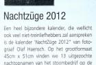 """Die Zeitschrift """"Modelspoor Magazine"""" rezensierte den Kalender """"NachtZüge 2012"""" in ihrer Dezemberausgabe 2011."""